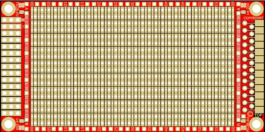 Standard study Printed Circuit Board (plated holes) -DIP (pitch 2.54) - CMS (pitch 1.27) Ref: 14-200