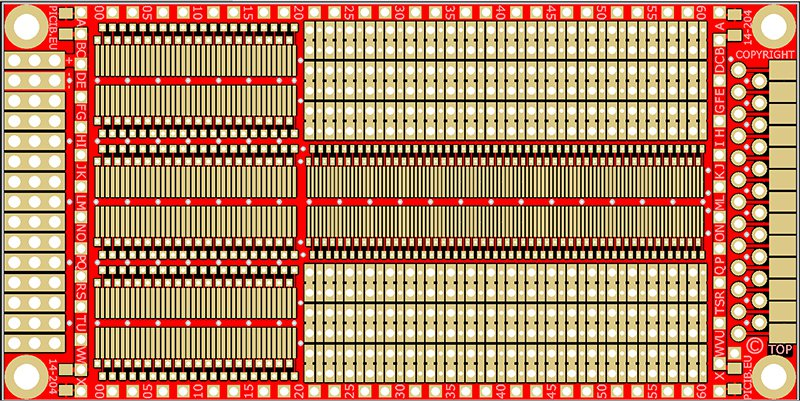 Standard study Printed Circuit Board (plated holes) -DIP (pitch 2.54) - CMS (pitch 1.27) Ref 14-204