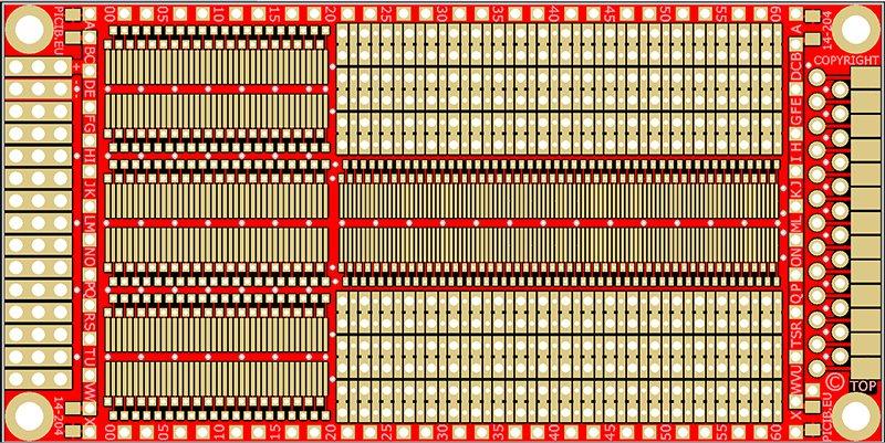 Circuit d'étude standard trous métallisés –DIP (pas 2.54) – CMS (pas 1.27) Réf 14-204