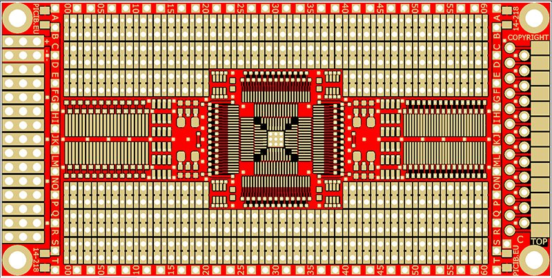 Circuit d'étude standard trous métallisés –DIP (pas 2.54) – CMS (pas 1.27)  Réf 14-218